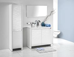 The Pacific bathroom furniture collection - white glossy waves over the white matte background / łazienka #bathroom #washbasin #minimalist #contemporary #white #furniture