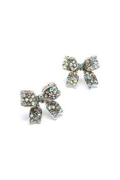 Bow stud earrings silver