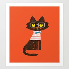 Fitz - Preppy cat Art Print by Budi Satria Kwan - $19.97