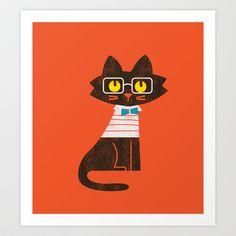 Fitz - Preppy cat Art Print by Budi Satria Kwan - $19.97