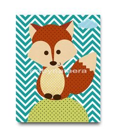 Fox Nursery Print Kids Art Digital file by nataeradownload on Etsy