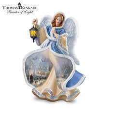 Set your holidays aglow with the first-ever Thomas Kinkade illuminated porcelain angel figurine collection to showcase the artist's beloved holiday artwork! 3d Christmas, Christmas Figurines, Christmas Angels, Fairy Figurines, Christmas Decorations, Christmas Ornaments, Thomas Kinkade Christmas, Thomas Kincaid, Share Pictures