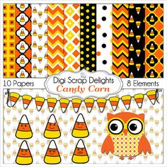 Printable digital Thanksgiving clip art for making cards placemats, door hangers, place cards games, and much more Candy Corn Owl Clip Art & Digital Papers by DigiScrapDelights