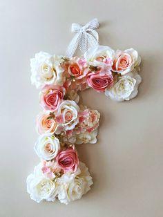 Flower Letters 18'' Floral Letters Vintage by PaulettaStore