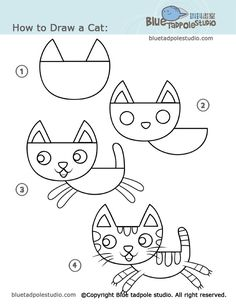 Kid drawings step by step par cartoons and character design drawings drawing for kids drawing lessons . Drawing Lessons, Art Lessons, Drawing Classes, Cat Drawing, Drawing For Kids, Art For Kids, Basic Drawing, Draw Cats, Classe D'art