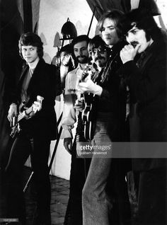 John Lodge, Mike Pinder, Graeme Edge, Justin Hayward and Ray Thomas of the Moody Blues pose for a group portrait at Muiderslot Castle in 1970 in Muiden, Netherlands.