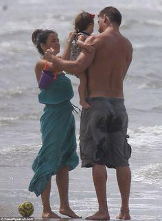 Channing Tatum, Jenna Dewan Tatum and baby Everly on a beach