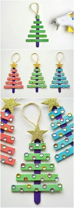 The Best DIY Christmas Tree Ornaments to Make – Easy Handmade Holiday Keepsakes DIY Glittering Popsicle Stick Christmas Trees Handmade Ornaments Tutorial Stick Christmas Tree, Christmas Tree Crafts, Kids Christmas, Holiday Crafts, Christmas Decorations, Popsicle Stick Christmas Crafts, Christmas Island, Christmas Movies, Christmas Glitter