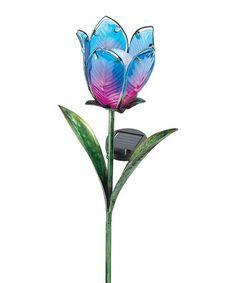 Another great find on #zulily! Blue & Pink Solar Tulip Garden Stake #zulilyfinds