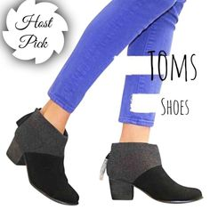"""✨HP✨TOMS Boots t o m s   s h o e s            s i z e :  7 . 5 c o l o r :  b l a c k   a n d   g r a y  h e e l   h e i g h t :  2 . 2"""" p u r c h a s e d   i n   2 0 1 6 n e v e r   b e e n   w o r n                                                                      Smoke Free Pet Free Price Negotiable through 'Offer Button' 20% off Bundles TOMS Shoes Ankle Boots & Booties"""