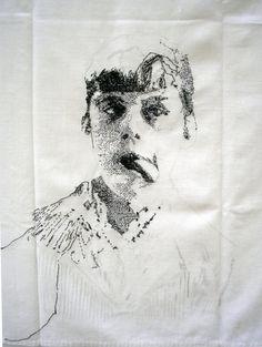 Magali Rizzo | Au diapason. Toile de drap brodée, 2009
