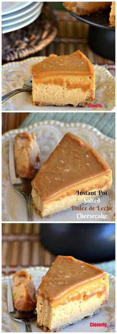 Looking for an easy dessert? This sweet and salty Instant Pot Salted Dulce de Leche Cheesecake Recipe can't be beaten! Your friends and family will be totally impressed, guaranteed. Get the recipe at CleverlyMe.com #InstantPot #InstantPotRecipes #Recipes #EasyRecipes #pressurecooker #PressureCookerRecipes