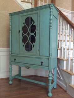 Antique china cabinet Painted with Paint Couture Barbados Blue with soft umber glazes by The Flirty Antique China Cabinets, Antique Hutch, Painted China Cabinets, Chalk Paint Furniture, Furniture Projects, Furniture Makeover, Diy Furniture, Girls Furniture, Cabinets