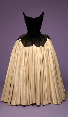 Charles James - 1951 evening dress, James was most known for his ball gowns in rich fabrics and sculpted looks.
