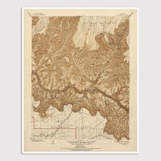 Old Grand Canyon National Park Map Art Print 1903 - USGS Topographic Map - Archival Reproduction. Fine art print reproduction of an antique map of Grand Canyon National Park from 1903 by the U.S. Geological Survey, Bright Angel Quadrangle. The map covers the central area of Grand Canyon National Park, including Grand Canyon Village on the South Rim, and Bright Angel Ranger Station on the North Rim. Also shows numerous details, including roads, railroads, rivers and streams, trails, and...