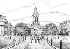 The Campanile Trinity College Dublin Trinity College Dublin, Irish Art, Green Fields, Art For Sale, Taj Mahal, How To Draw Hands, Drawings, Building, Prints