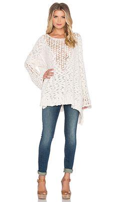 free people pretty pointelle vee sweater - ivory. $128.