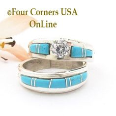 Four Corners USA Online - Size 8 Turquoise Engagement Bridal Wedding Ring Set Navajo Wilbert Muskett Jr WS-1691, $240.00 (http://stores.fourcornersusaonline.com/size-8-turquoise-engagement-bridal-wedding-ring-set-navajo-wilbert-muskett-jr-ws-1691/)
