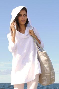 Hooded white linen tunic linen tunic with sleeves by feellinen