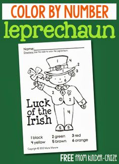 color by number leprechaun FREEIBE