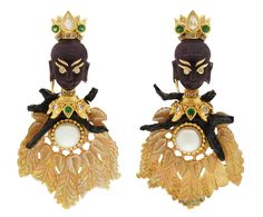 A pair of carved leaf shell earrings is combining with Little Thai princess made from carved amethyst face, tsavorites & diamonds crown, pearls, imitation wood branches and full-cut diamonds eyes set in 18K gold & black rhodium sterling silver.