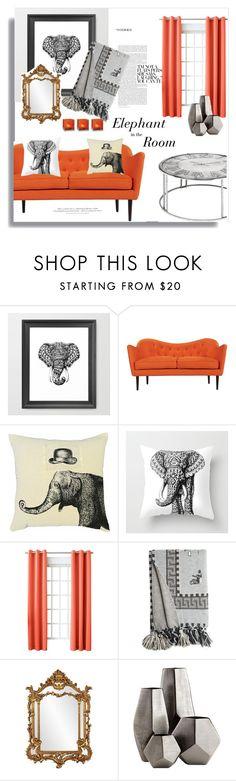 """Elephant in the Room"" by jafashions on Polyvore featuring interior, interiors, interior design, home, home decor, interior decorating, Sun Zero, Calypso St. Barth, Howard Elliott and Cyan Design"