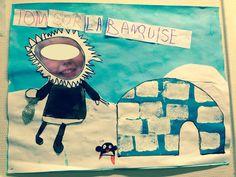 les esquimaux sur la banquise, art visuel maternelle, pôle nord
