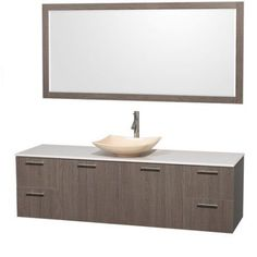 Wyndham Collection Amare 72 inch Single Bathroom Vanity in Gray Oak, White Man-Made Stone Countertop, Arista Ivory Marble Sink, and 70 inch Mirror, Multicolor