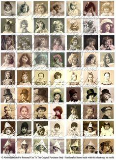 Instant Download Charming Children Inchie Vintage Clip Art Digital Collage Sheet
