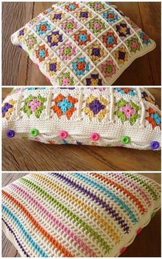 Transcendent Crochet a Solid Granny Square Ideas. Inconceivable Crochet a Solid Granny Square Ideas. Crochet Motifs, Crochet Squares, Crochet Granny, Crochet Stitches, Granny Squares, Crochet Cushion Cover, Crochet Cushions, Crochet Home