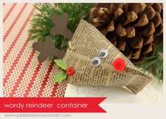 Reindeer Sour Cream Treat container tutorial - fun little Christmas gift Noel Christmas, Christmas Paper, Christmas Crafts For Kids, Little Christmas, Winter Christmas, All Things Christmas, Holiday Crafts, Christmas Cards, Christmas Decorations