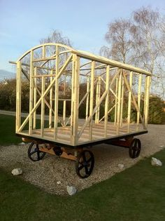 """Shepherd hut construction- These """"huts"""" are so intriguing to me!  They lend themselves to a unique personalized abode. Art on wheels....=)"""