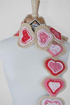 Heart Sugar Cookie Crochet Scarf Cookie Scarf by Gitanaflipflops, $50.00
