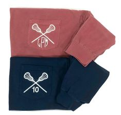 Show your team spirit with your choice of a monogram or your team number on these monogrammed lacrosse pocket tees.For teamorders, please see ourgroup team pagehere. Also available in short sleeve! MonogramInformation: Please enter your monogram exactly in the orderyouwant the letters to appear on the shirt. This productis monogrammed on the left chest pocket. It is customary for women to have their last name initial larger and in the center of theirmonogram. For example, Megan…