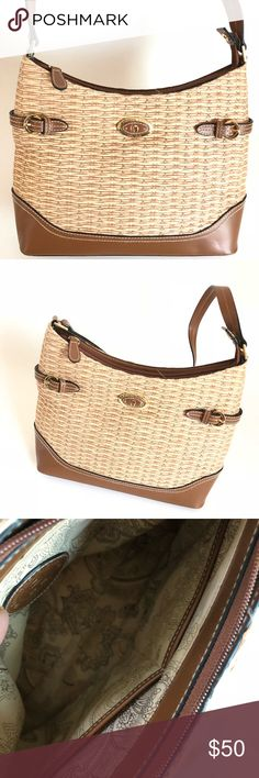 Etienne Aigner Handbag . Sophisticated saddle Brown leather and rattan  Étienne Aigner tote and handbag. 67e1dbec8f
