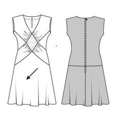 Celeste Burda 8132 Bias skirt. Interesting seams replace darts on front of dress.