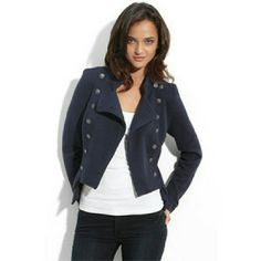 "Selling this ""Majorette"" Military Navy Sweater Jacket in my Poshmark closet! My username is: lexthebarbarian. #shopmycloset #poshmark #fashion #shopping #style #forsale #Free People #Jackets & Blazers"