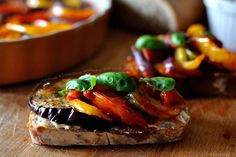 Oven-Roasted Ratatouille & Cream Cheese Sandwich with fresh basil -- will you just look at that bread? Can't you already taste this?!