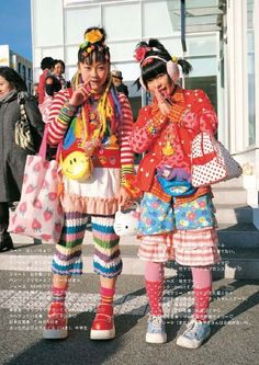 """fy-fruits: """" Sachidayo Yoroshiku (left) and Rii (right), both 14 year old. Just saying, these girls are my personnal heroes. Asian Street Style, Japanese Street Fashion, Asian Fashion, Other Outfits, Cool Outfits, Fruits Magazine, Clown Suit, Cream Outfits, Themed Outfits"""