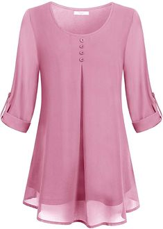 Buy Women's Roll-up Long Sleeve Round Neck Layered Chiffon Flowy Blouse Top . Buy Women's Roll-up Long Sleeve Round Neck Layered Chiffon Flowy Blouse Top - Pink - and shop more l Blouse Styles, Blouse Designs, Dress Patterns, Chiffon Tops, Chiffon Shirt, Chiffon Blouses, Blouses For Women, Ladies Blouses, Ideias Fashion