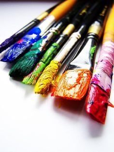 Creativity. I'm happiest when my brushes look like this! And my hands too!