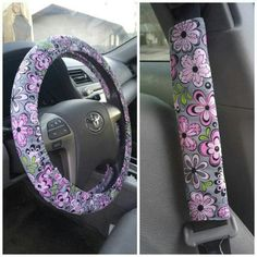 ⭐SALE⭐Steering Wheel Cover&Seat Belt Covers Set This is a beautiful print...grey with pink flowers. Handmade Steering Wheel Cover and Seat Belt Covers Set. Steering Wheel Cover fits a standard 14-15 inch  steering wheel & made of cotton. Seat Belt Covers are reversible and made with a soft fleece inside. Pattern placement may vary. Accessories
