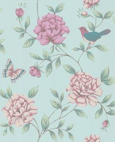 """""""Isabelle"""" by Monsoon. I absolutely love this wallpaper! I used to have this in my bedroom in the last house I lived in. I am so tempted to use this wallpaper in our new house."""