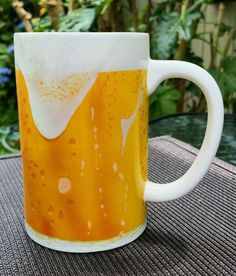 "Morning Brew Mug Hallmark Foaming Draft Beer Drinker Coffee Tea Cup 5"" Tall #Hallmark #MorningBrew  .25 cents"