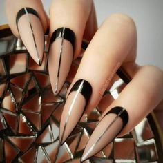 Nude Nails Shades With Black Color ❤️ 21 Fab And Stylish Nude Stiletto Nails To Be In Trends❤️ See more: naildesignsjourna. Classy Nail Art, Classy Nail Designs, Best Nail Art Designs, Elegant Nails, Beautiful Nail Designs, Cool Nail Art, Nail Swag, Trendy Nails, Cute Nails