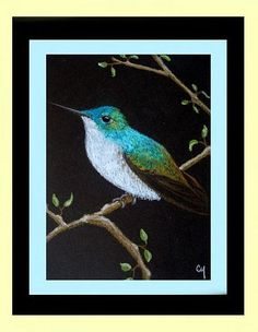 Art: Andean Emerald Hummingbird (SOLD) by Artist Cyra R. Cancel