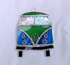 Stained Glass Camper Van Suncatcher - Turquoise and Green