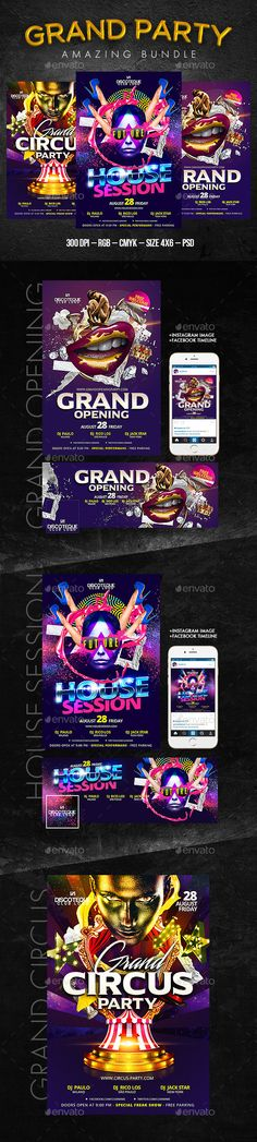 Grand Party Flyer Bundle Template #design Download: http://graphicriver.net/item/grand-party-bundle/12648803?ref=ksioks