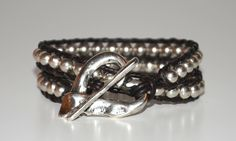 multilayer leather bracelet, weaving silver color bracelet, Cuff Beaded Bracelets,hand made bracelet,brown leather with heart clasp bracelet by OtroAccesorio on Etsy
