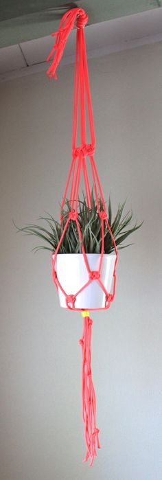 Neon Pink Macrame Plant Hanger